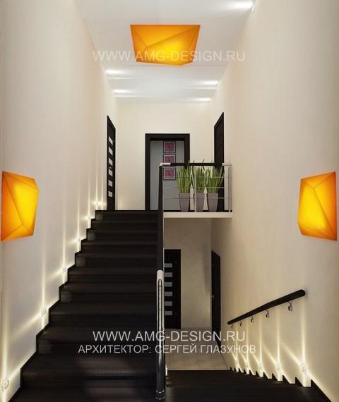 Дизайн кухни на втором этаже с лестницей