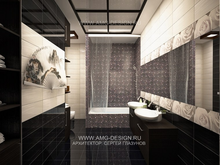 Интерьера ванной в японском стиле
